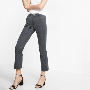 Express High Rise Bell Crop Gray Jeans 10